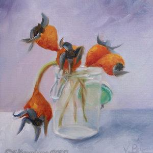 Fleurs d'églantier - huile sur papier - 24x20 cm