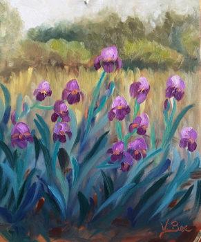 Les iris - huile sur MDF - 30x26 cm