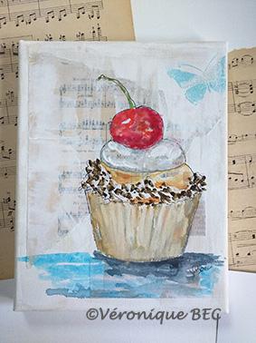 Cupcake cerise sur toile 19x24 cm (disponible)