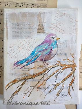 L'oiseau bleu 19x24cm (disponible)