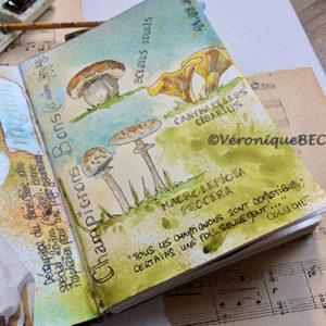 Champignons sur page art journal